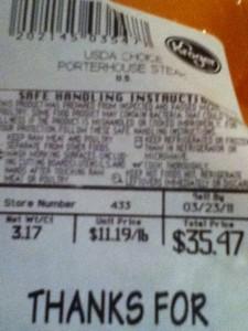 price tag of 3 pound porterhouse steak