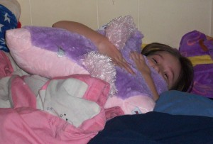 Gillian with her pillow pet