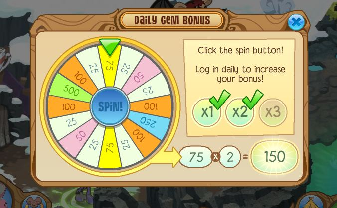 Animal Jam Daily Gem Bonus