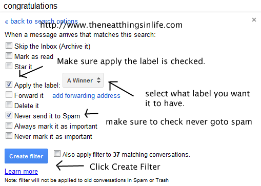 creating labels to send winning emails to a label in gmail