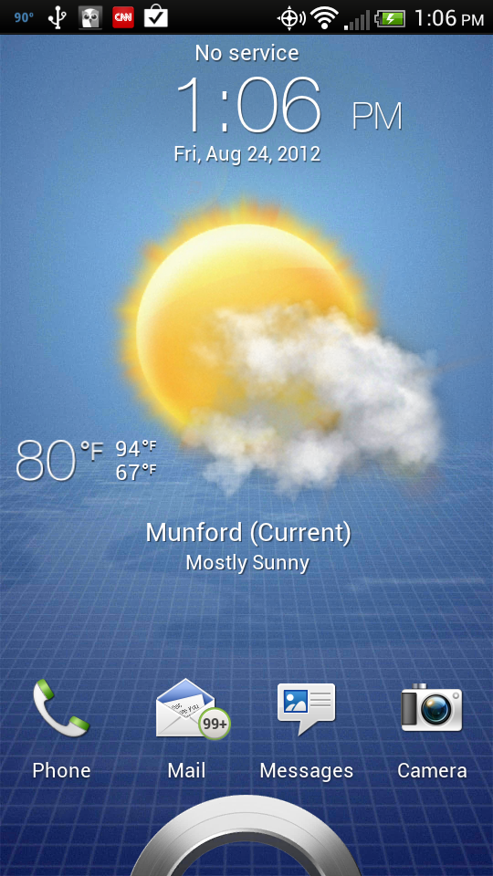 Weather from locked HTC Droid Screen