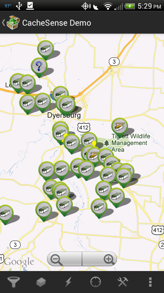 geocaches in Tennessee