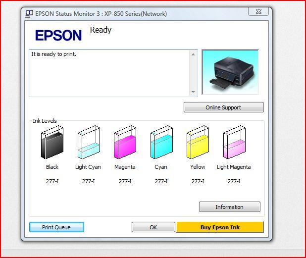 epson ink levels