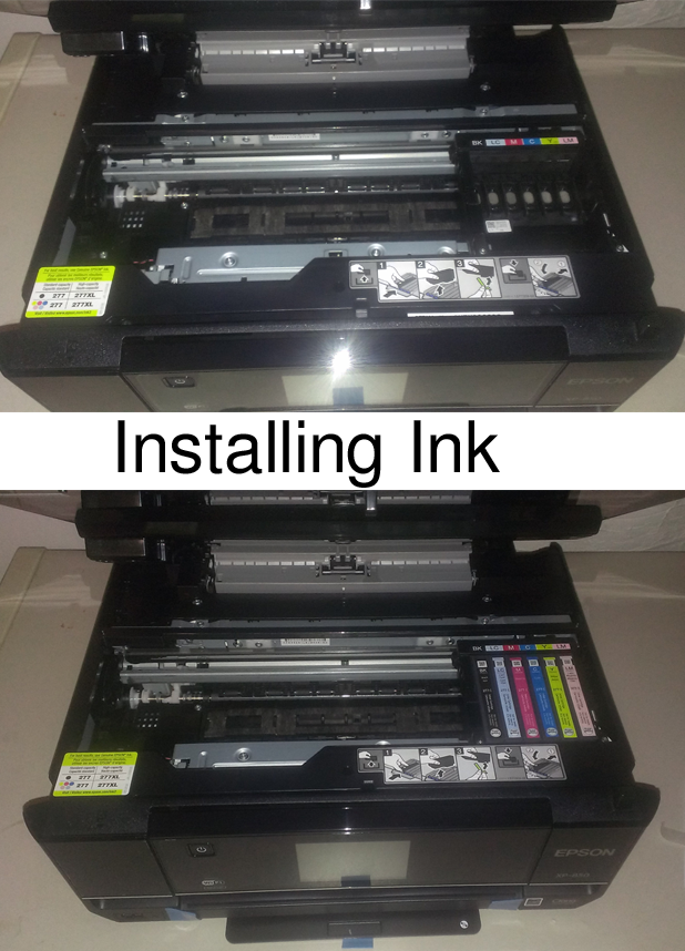 installing ink in the epson