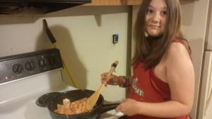 gillian cooking dinner
